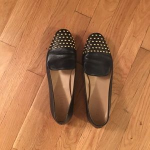 J. Crew Gold Studded Navy Blue Loafers